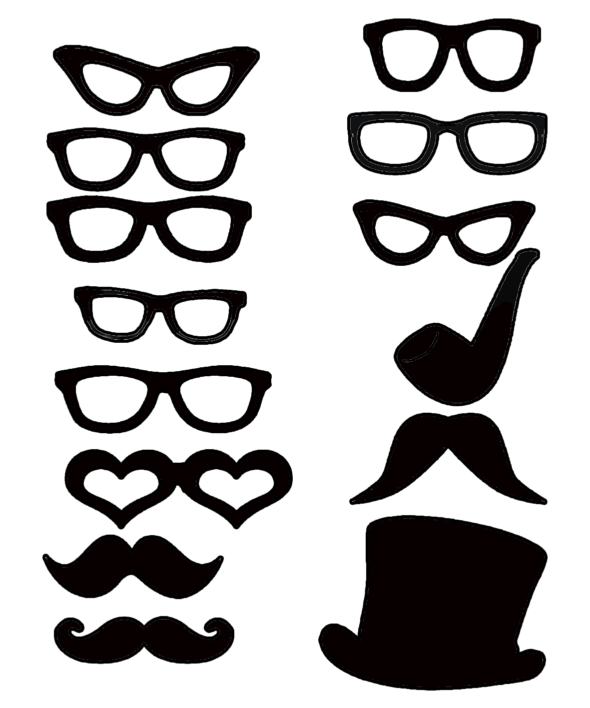Micro glasses , moustache and hat